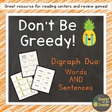 Don't Be Greedy: Digraph DUO (Words AND Sentences) Phonics Game