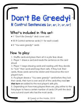 Don't Be Greedy: R Control Sentences (ar, er, ir, or, ur) Phonics Card Game