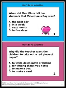 Don't Be My Valentine Comprehension Questions