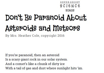 Don't Be Paranoid About Asteroids and Meteors - Music Video