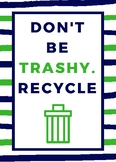 Don't Be Trashy-Poster-Navy and Green