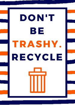 Don't Be Trashy-Poster-Navy and Orange