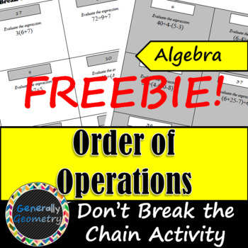 Don't Break the Chain Activity: Order of Operations FREEBIE!