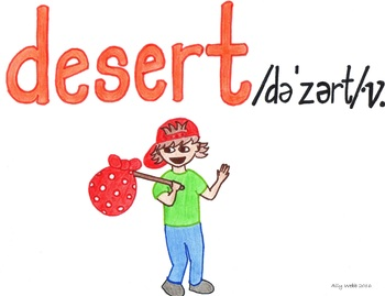 Don't Desert Cartoon--Printable Montessori Homograph Card