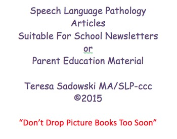 The School Newsletter:  Don't Drop Picture Books Too Soon