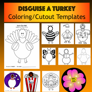 Don't Eat Me! Disguise the Turkey (Coloring/Cutout Template)