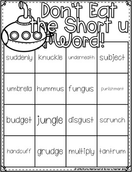 Don't Eat the Short u Word! Differentiated Practice Reading words with short u