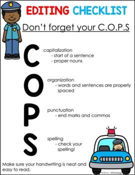 Don't Forget Your COPS. Editing Checklist {Freebie}