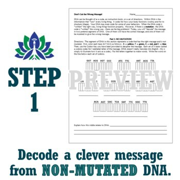 DNA Mutations Activity Worksheet for Middle School Students NGSS MS-LS3-1