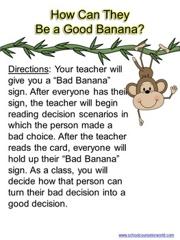 Don't Go Bananas, Make Good Decisions; Guidance Lesson for Grades 2-3