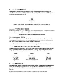 Context Clues Cheat Sheet for Speech Therapy