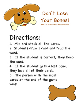 Don't Lose Your Bones! FRY's Third Hundred Sight Words