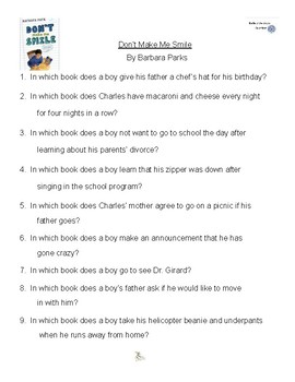 Don't Make Me Smile by Barbara Parks, Battle of the Books Questions