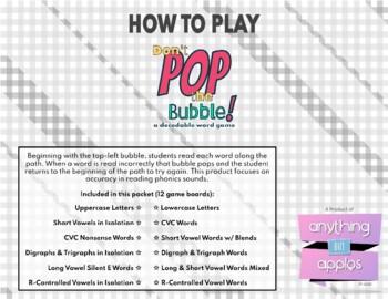 Don't Pop the Bubble - Phonics Skill Practice