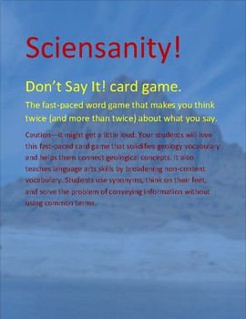 Don't Say It! Geology Card Game