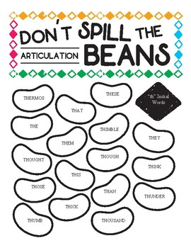 """Don't Spill The Articulation Beans! Speech Therapy Game - """"TH"""" FREEBIE"""