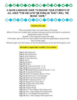 Don't Spill The Language Beans! (No Prep) Language/Vocab Game