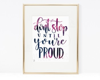 Don't Stop Until You're Proud - Galaxy Lettering - Growth Mindset Printable