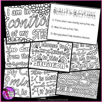 Don't Stress the Test stress relief coloring affirmation cards