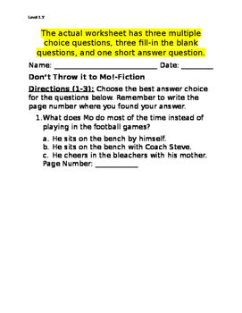 Don't Throw it to Mo! Comprehension Questions (Written by David Adler)