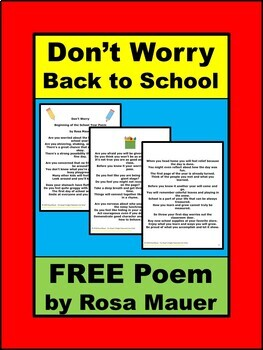 Don't Worry Beginning of the School Year Poem