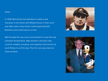 Donald Duck - Disney Power Point Life Story Pictures Information