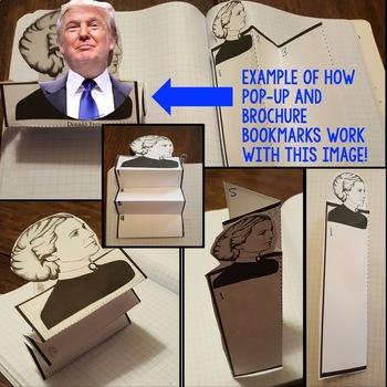 Donald Trump Biography Research, Bookmark Brochure, Pop-Up, Writing