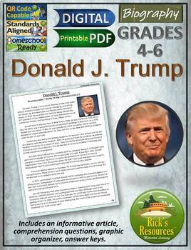 Donald Trump Biography and Reading Comprehension Activities