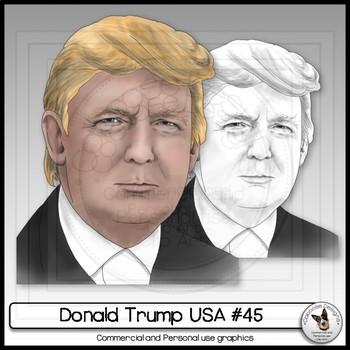 Donald Trump USA President Clip Art Realistic Portrait