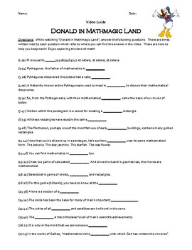 Donald in Mathmagic Land Video Worksheet