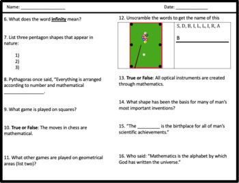 Donald in Mathmagic Land - Video Worksheet & Word Search (Bundle)