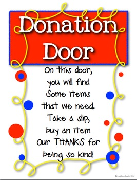 Donation Door, Request for Supplies, Starting the Year