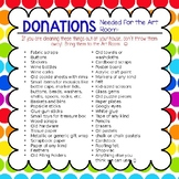 Donations for Art Classroom *Editable* Great for Facebook,