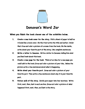 Donavan's Word Jar By Monalisa DeGross Comprehension Packet