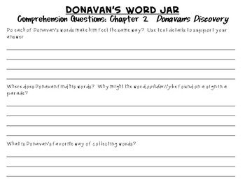 Donavan's Word Jar by Monalisa DeGross:  A Complete Literature Study!