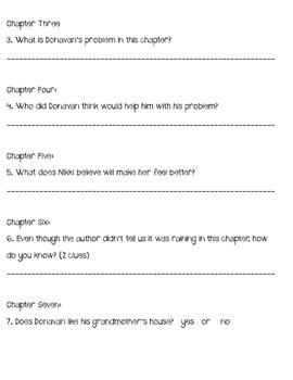 Donavan's Word Jar Comprehension Questions