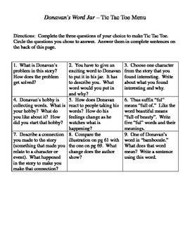 Donavan's Word Jar Question Menu for Trophies