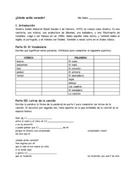 Donde Estas Corazon Song Guide and Questions