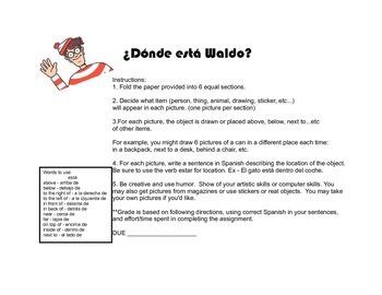 Donde está Waldo?  Using prepositions of location