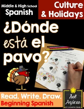 Spanish Thanksgiving ¿Donde está el pavo? Read and Draw - Beginner, Novice