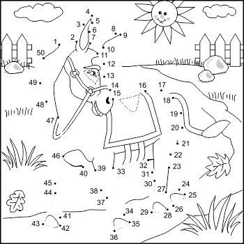 Donkey Connect the Dots Puzzle and Coloring Page, Commercial Use Allowed