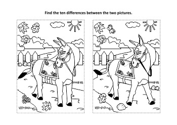 Donkey Find the Differences and Coloring Page, Commercial Use Allowed