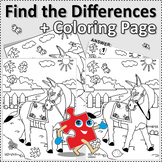 Donkey Find the Differences and Coloring Page, Commercial