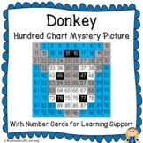 Donkey Hundred Chart Mystery Picture with Number Cards