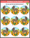 Donkeys Spot the Identicals Visual Puzzle, Commercial Use Allowed