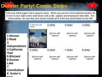 Donner Party Comic Strip Activity - fun, engaging, informative 20-slide PPT