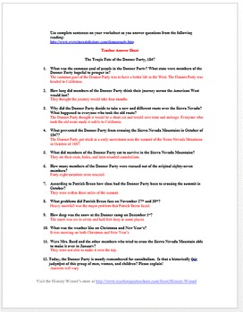 Donner Party Primary Source Worksheet