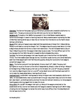 Donner Party - Review Article Questions Vocabulary Timelin Word Searche