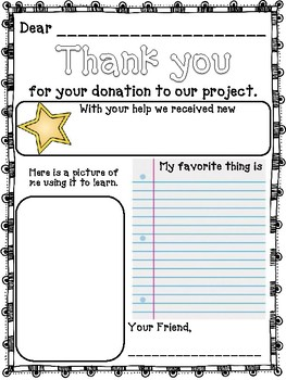 Donor's Choose Thank You Letters by Magic in Primary | TpT