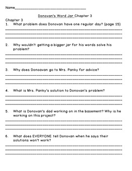 Donovan's Word Jar--Level P--Guided Reading Comprehension Questions